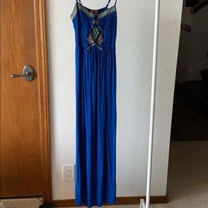 Royal Blue Aztec Embroidered Maxi Dress